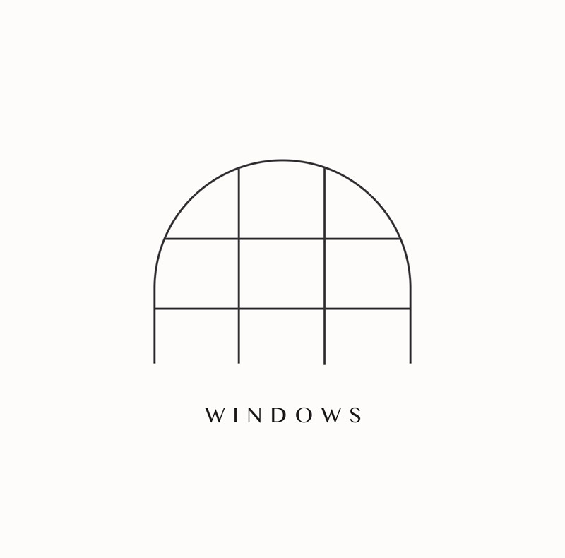 Archway Depot monogram logo branding elements. Warehouse arched windows in studio. Design by Brittany Hurdle beckon webeckon