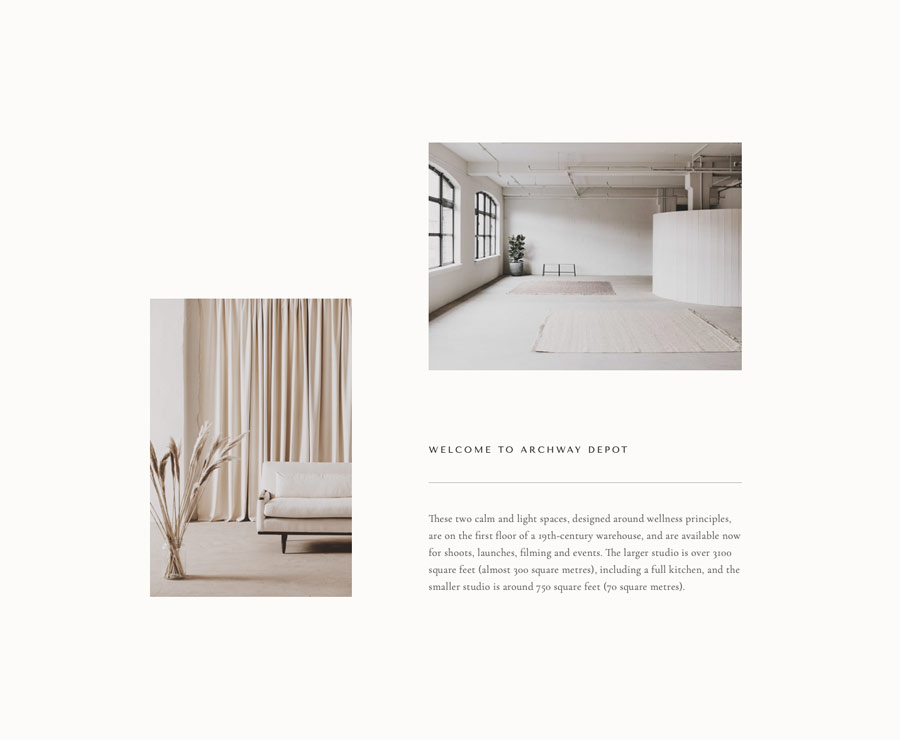 Simple soothing website design for London photographic studio Archway Depot. Design by Brittany Hurdle beckon webeckon