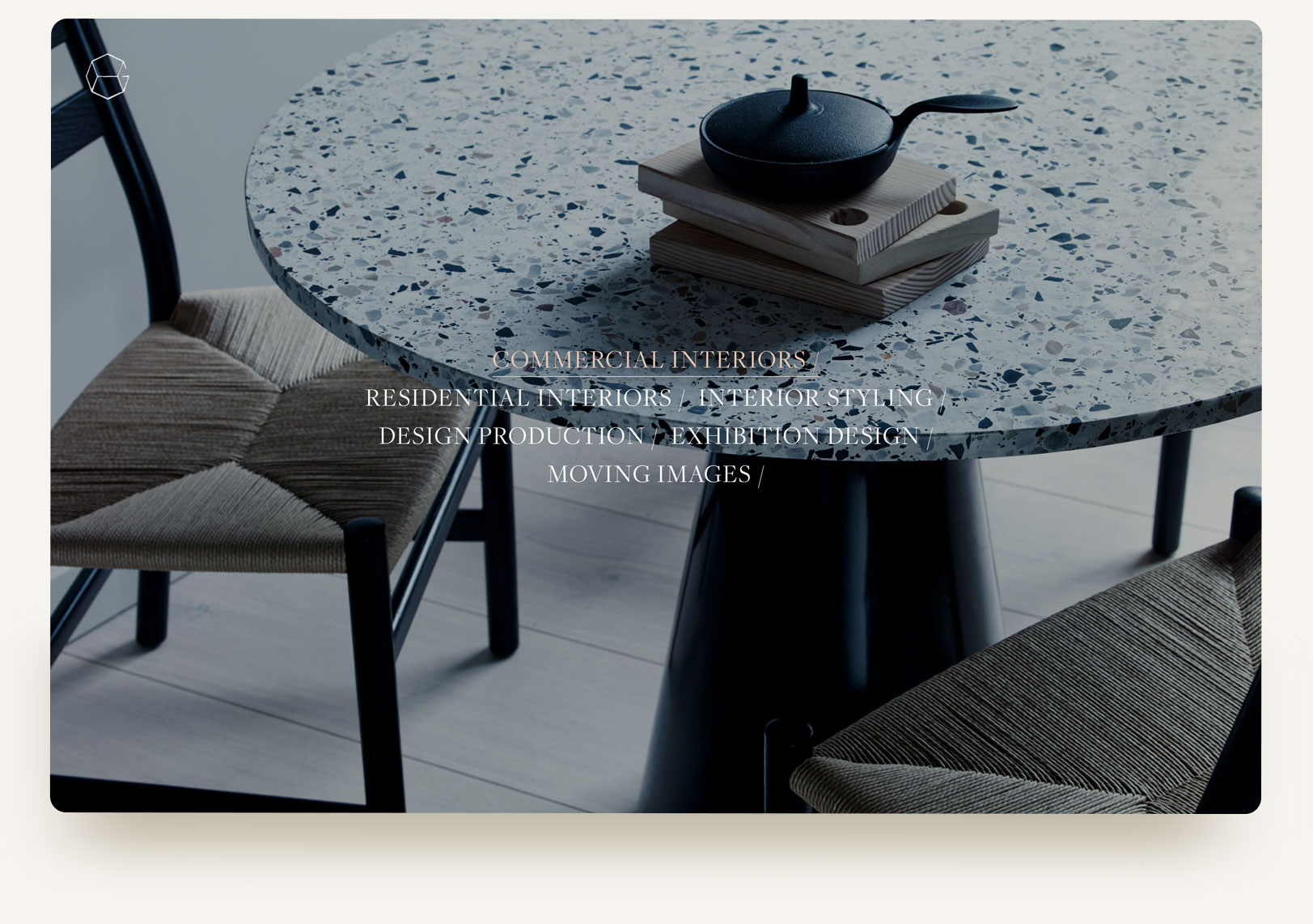 House of Grey commercial interior design studio portfolio homepage gallery carousel with typography rollover and video. Squarespace website design and custom code by Brittany Hurdle beckon webeckon