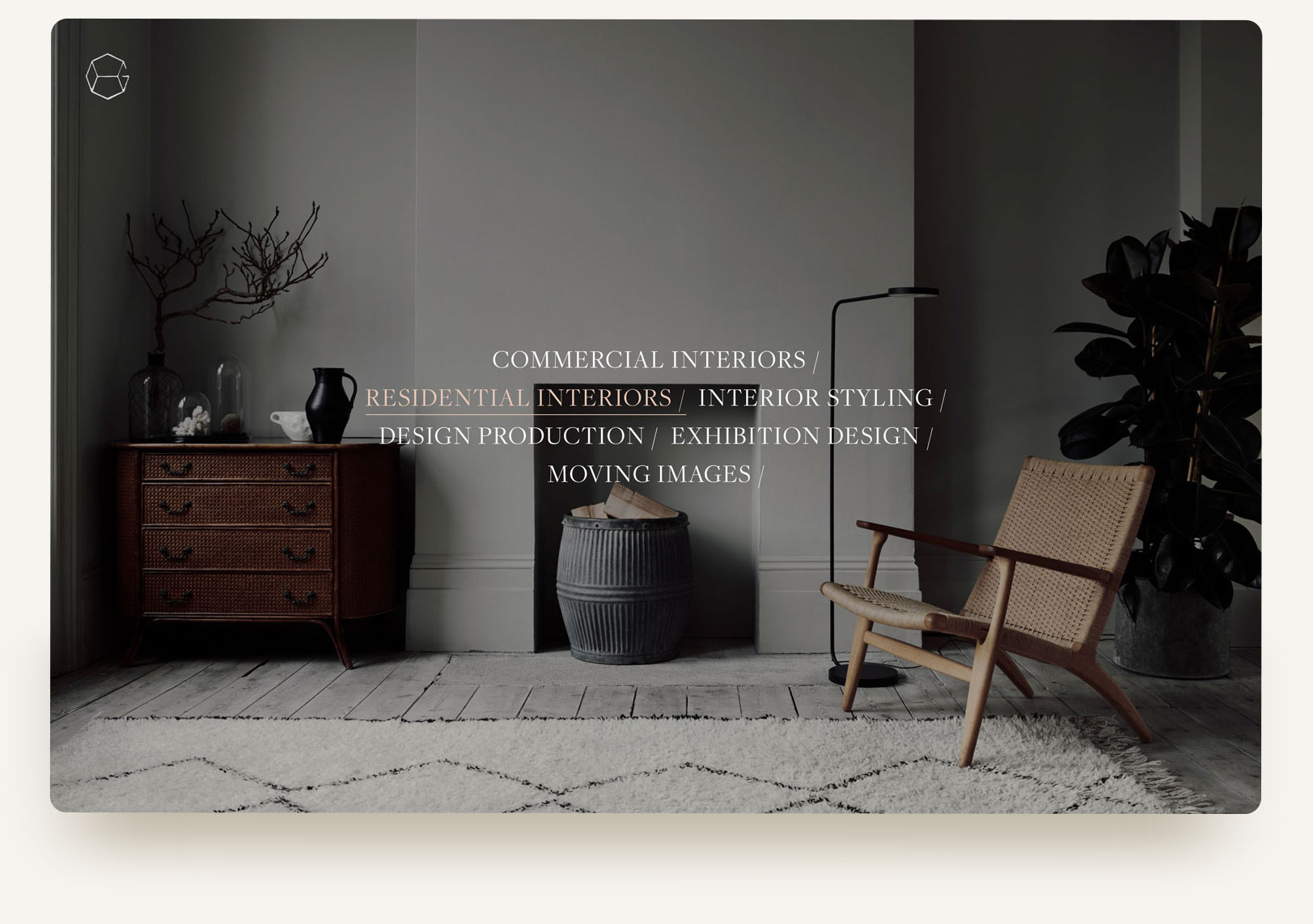 House of Grey residential interior design studio portfolio homepage gallery carousel with typography rollover and video. Squarespace website design and custom code by Brittany Hurdle beckon webeckon