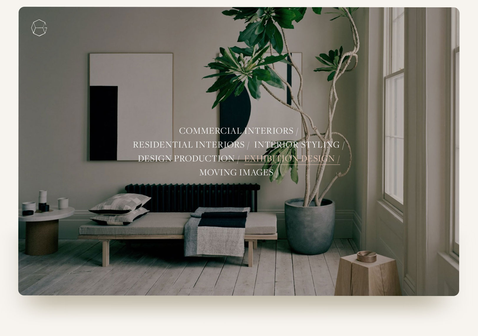House of Grey interior exhibition design studio portfolio homepage gallery carousel with typography rollover and video. Squarespace website design and custom code by Brittany Hurdle beckon webeckon