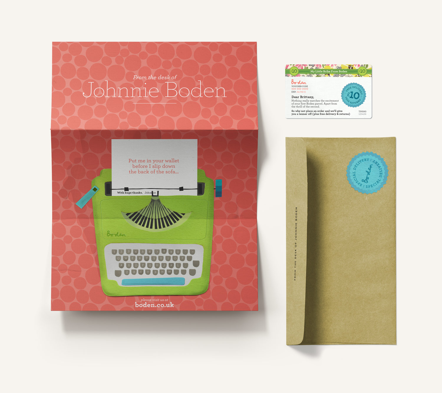 Boden quirky discount gift card letter and envelope. Paper illustration of a typewriter holding a removable gift card. Design by Brittany Hurdle