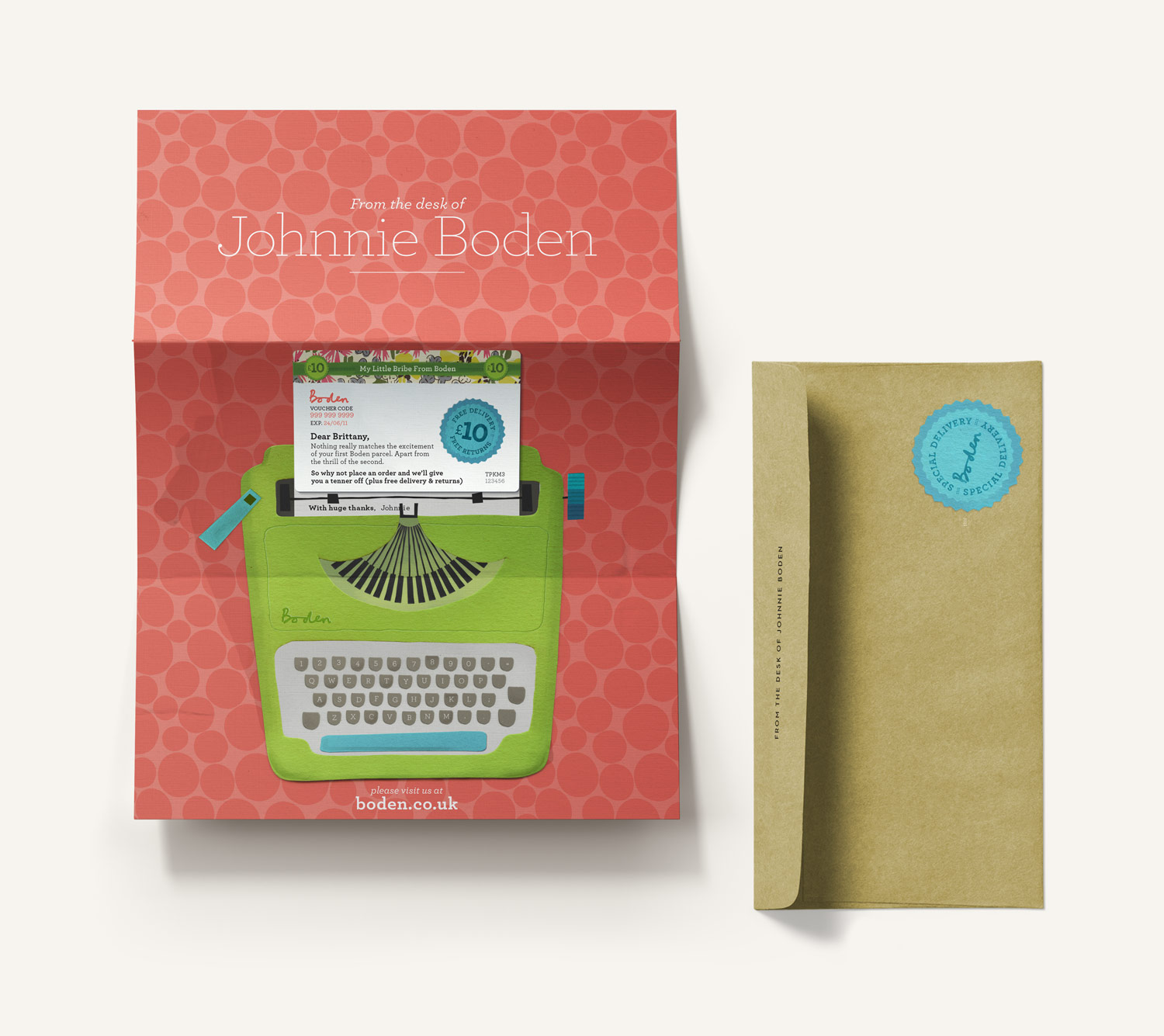 Boden discount gift card letter and envelope. Paper illustration of a typewriter holding a removable card. Design by Brittany Hurdle