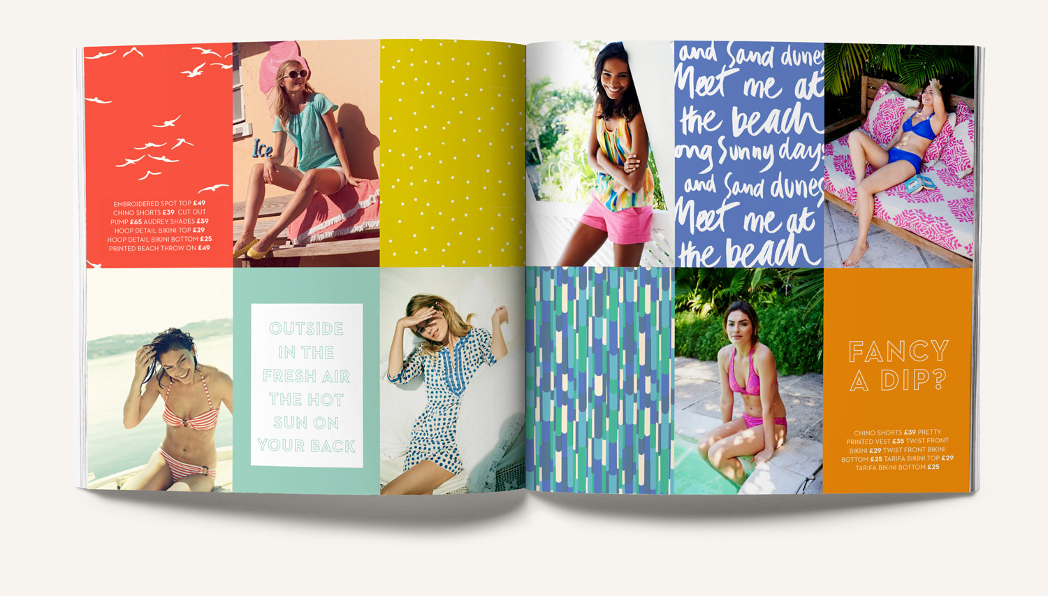 Boden swimwear collage grid with handdrawn type, typography, print, patterns and color. Design by Brittany Hurdle