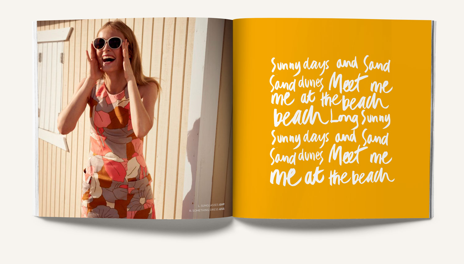 Boden summer press printed booklet. Handdrawn typography. Design by Brittany Hurdle