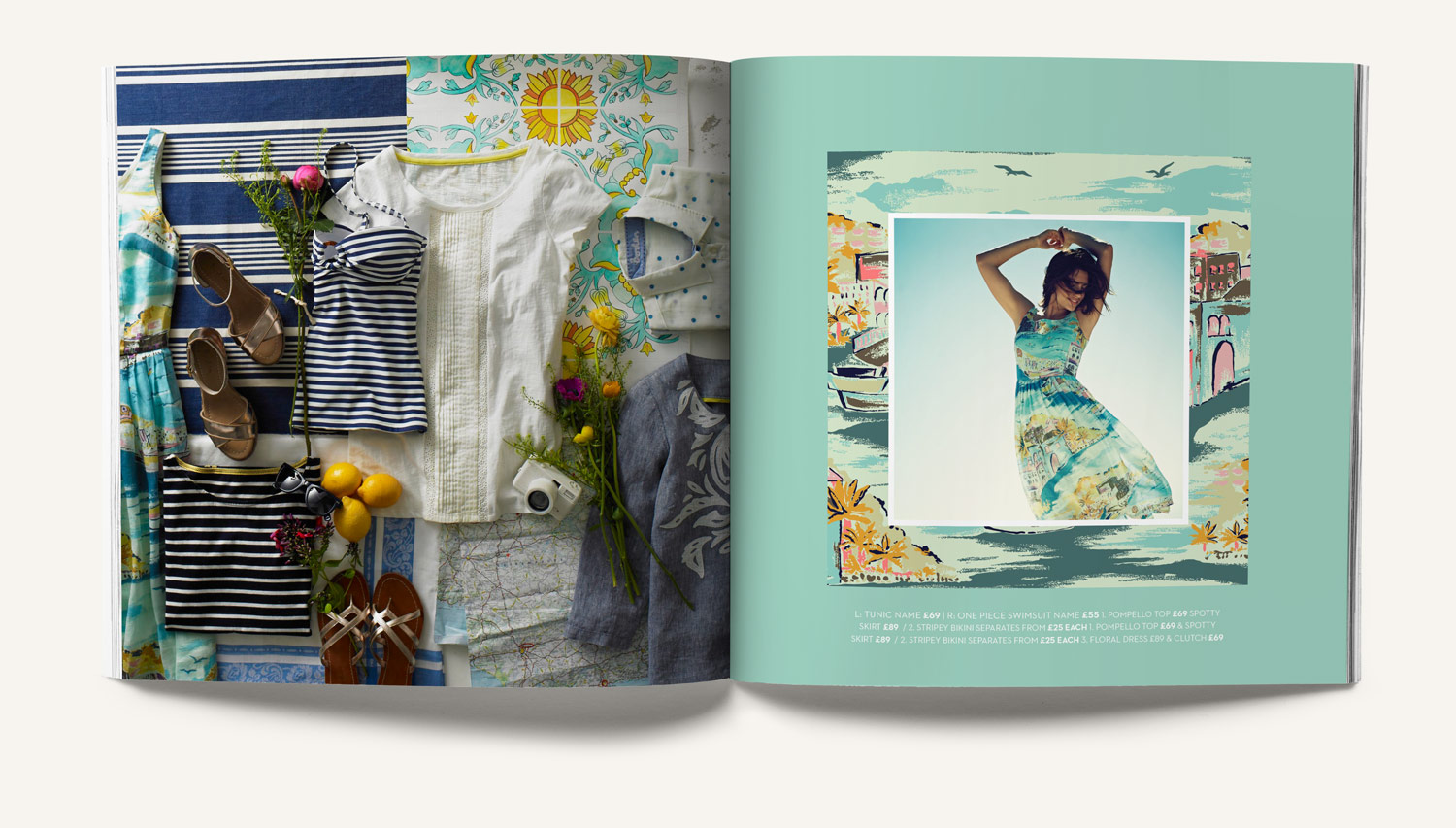 Boden Summer Accessories Press booklet with laydown photography, pattern borders. Design by Brittany Hurdle