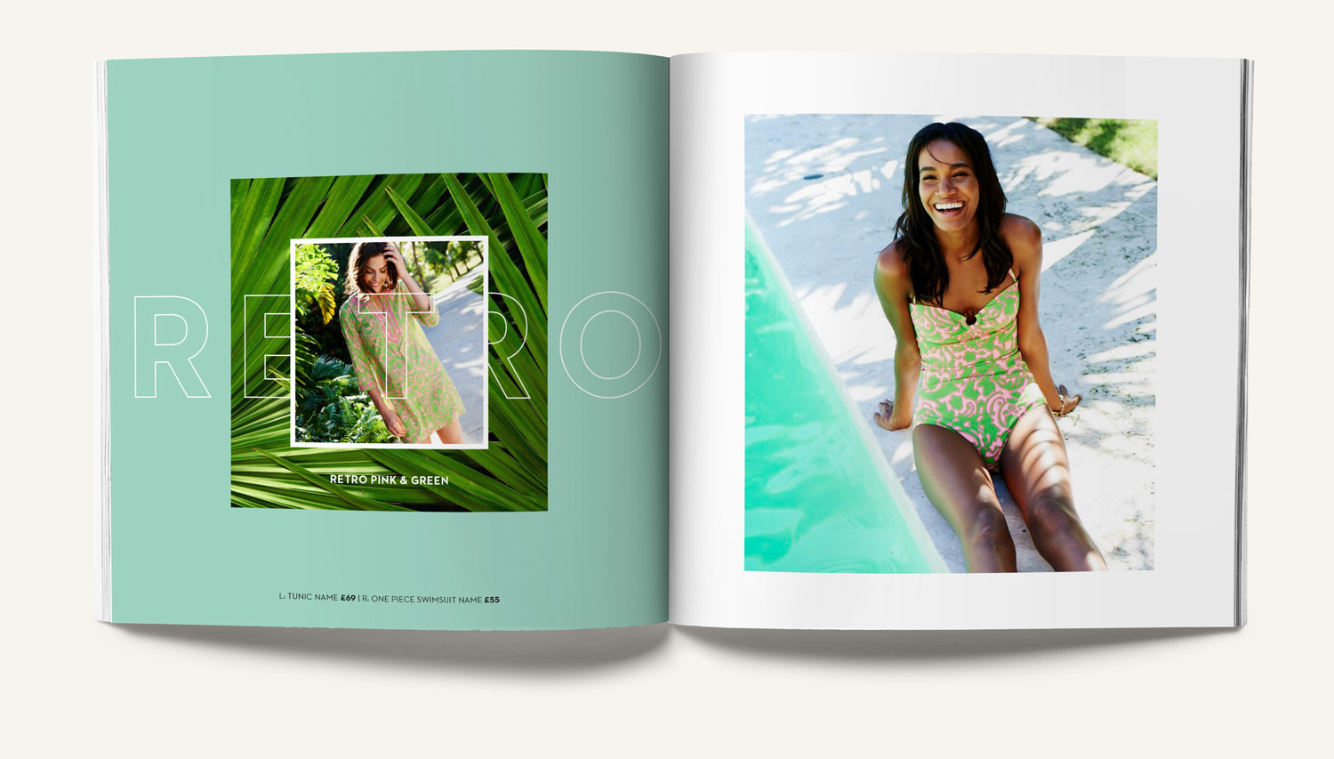 Colourful catalogue for Boden swimwear Press piece with outline typography, palm leaves poolside. Design by Brittany Hurdle