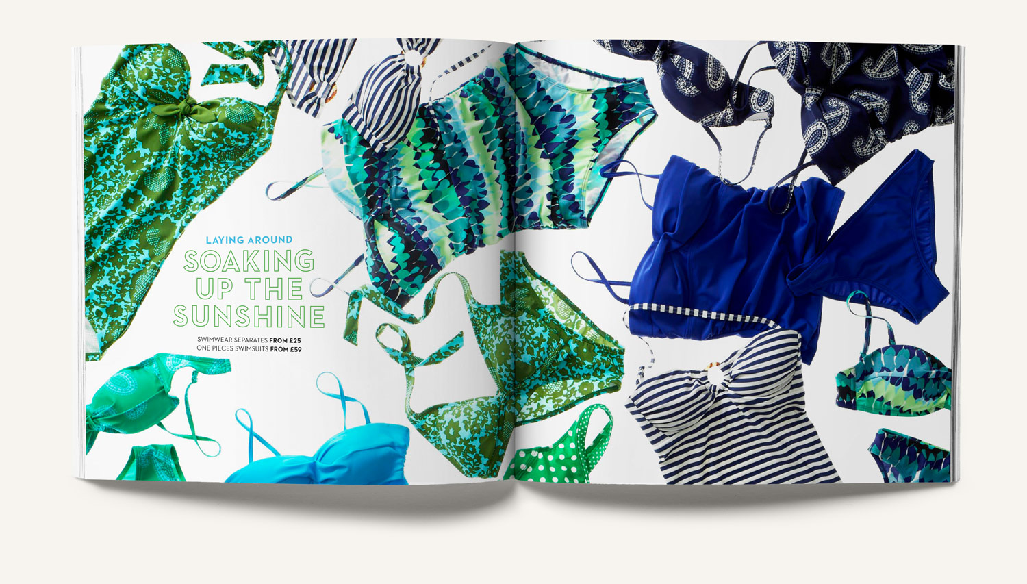 Boden swimwear PR booklet with outline typography. Design by Brittany Hurdle
