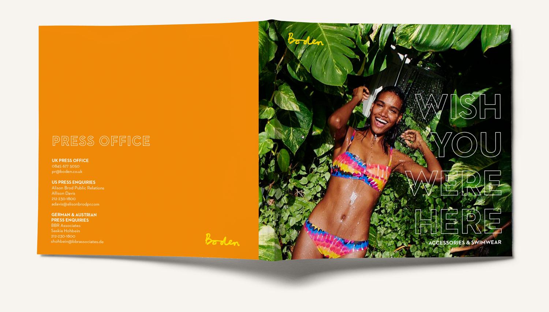 Boden accessories and swimwear square booklet brochure press piece. Design by Brittany Hurdle