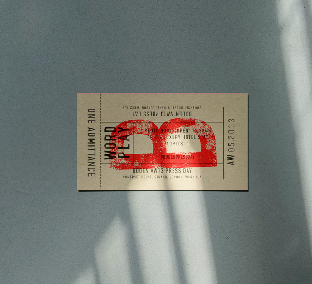 Vintage typographic ticket for Boden press day event. Design Brittany Hurdle
