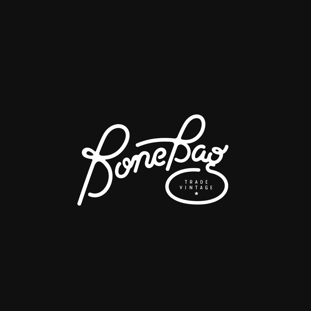 Handdrawn Script logo for bonebag vintage–UK wholesale apparel company. Design by Brittany Hurdle Beckon design