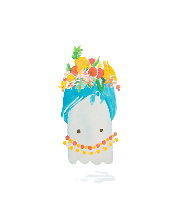 Gouche illustration painting of a halloween ghost dressed as Carmen Miranda. Illustration by Brittany Hurdle beckon webeckon