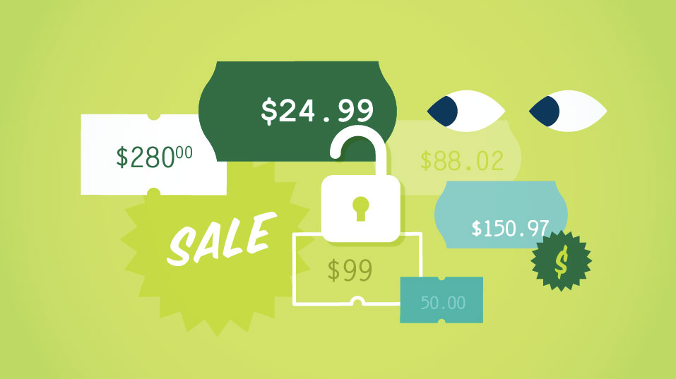 Price stickers, shifting eyes illustration for online shopping. For video teaser app by Brittany Hurdle beckon webeckon