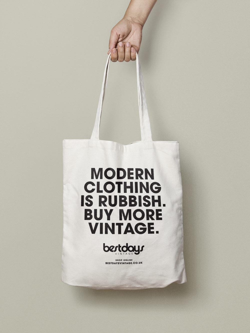 Typographic totebag design: modern clothing is rubbish. Buy more vintage. for clothing shop. Design by Brittany Hurdle beckon webeckon