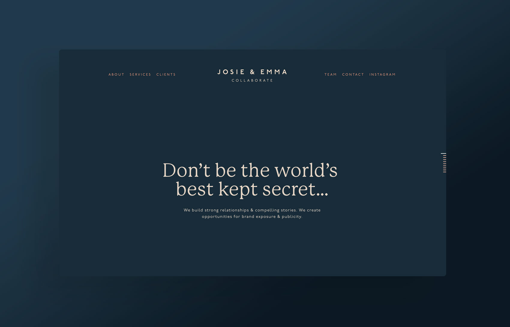 Dark, simple, typographic public relations squarespace website. Design by Brittany Hurdle beckon webeckon