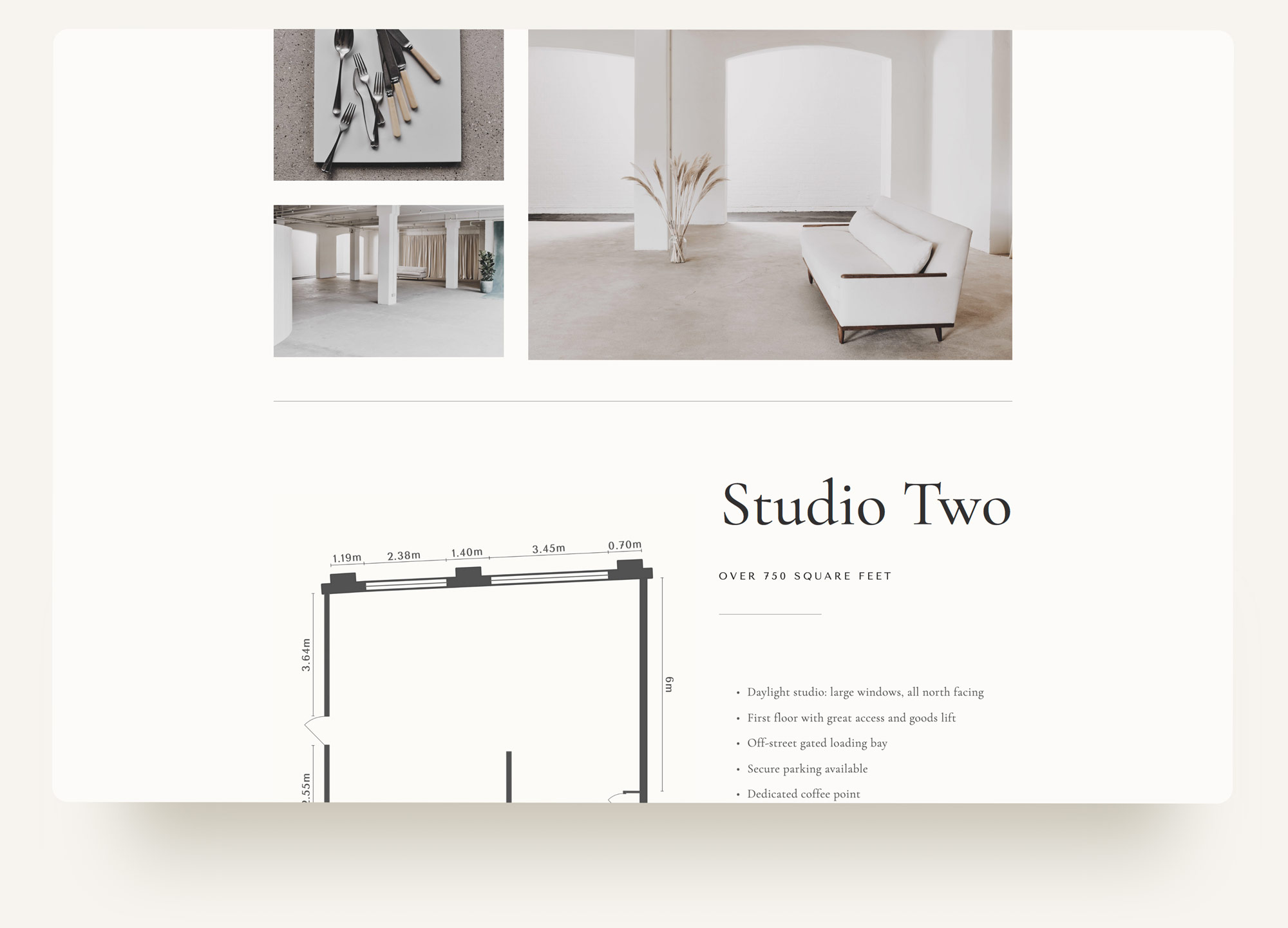 London photography studio image grid and floorplan specs for Archway Depot. Squarespace custom design by Brittany Hurdle beckon webeckon