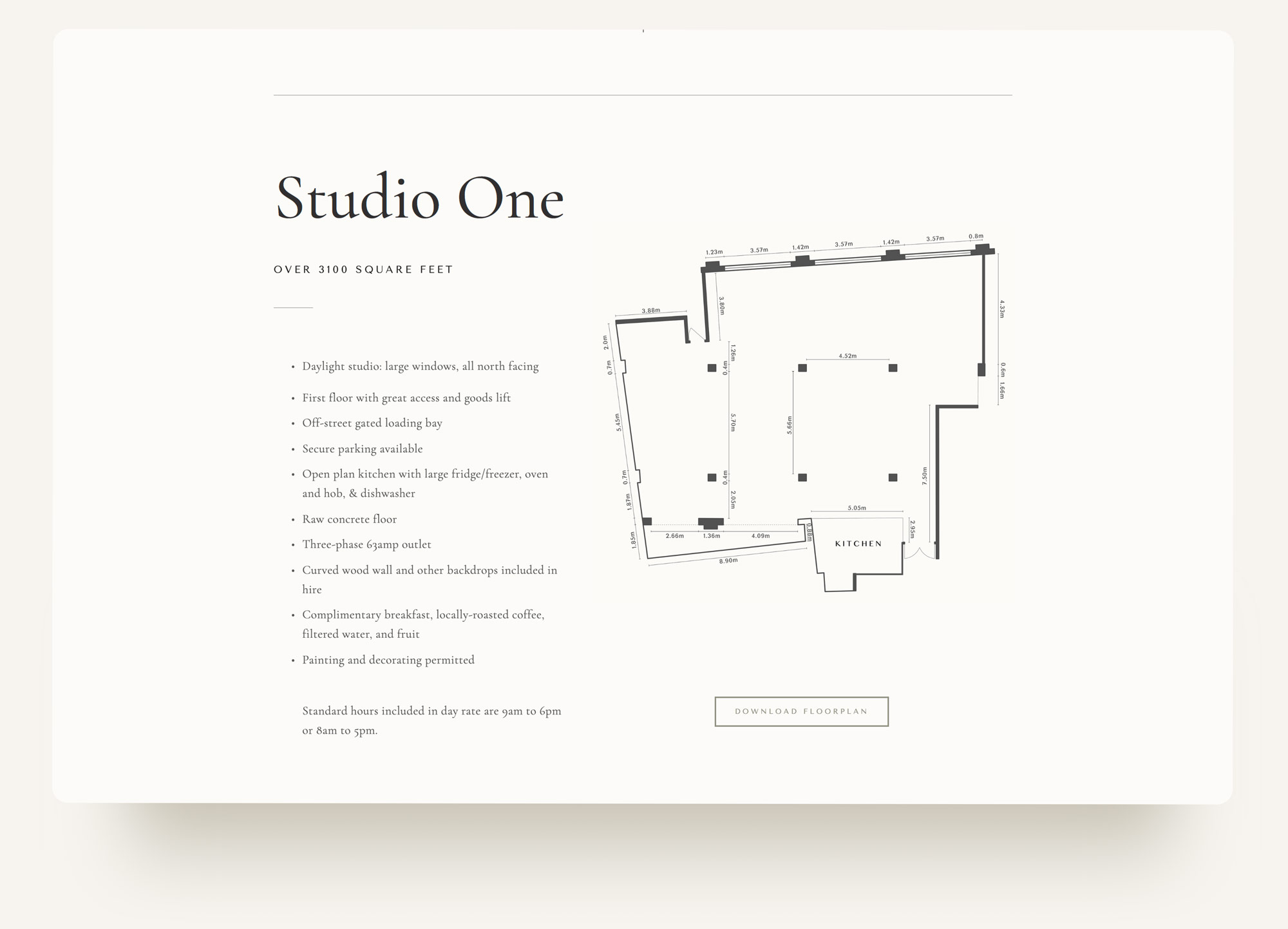 Studio specs and floorplan download on Archway Depot website. Squarespace design by Brittany Hurdle beckon webeckon