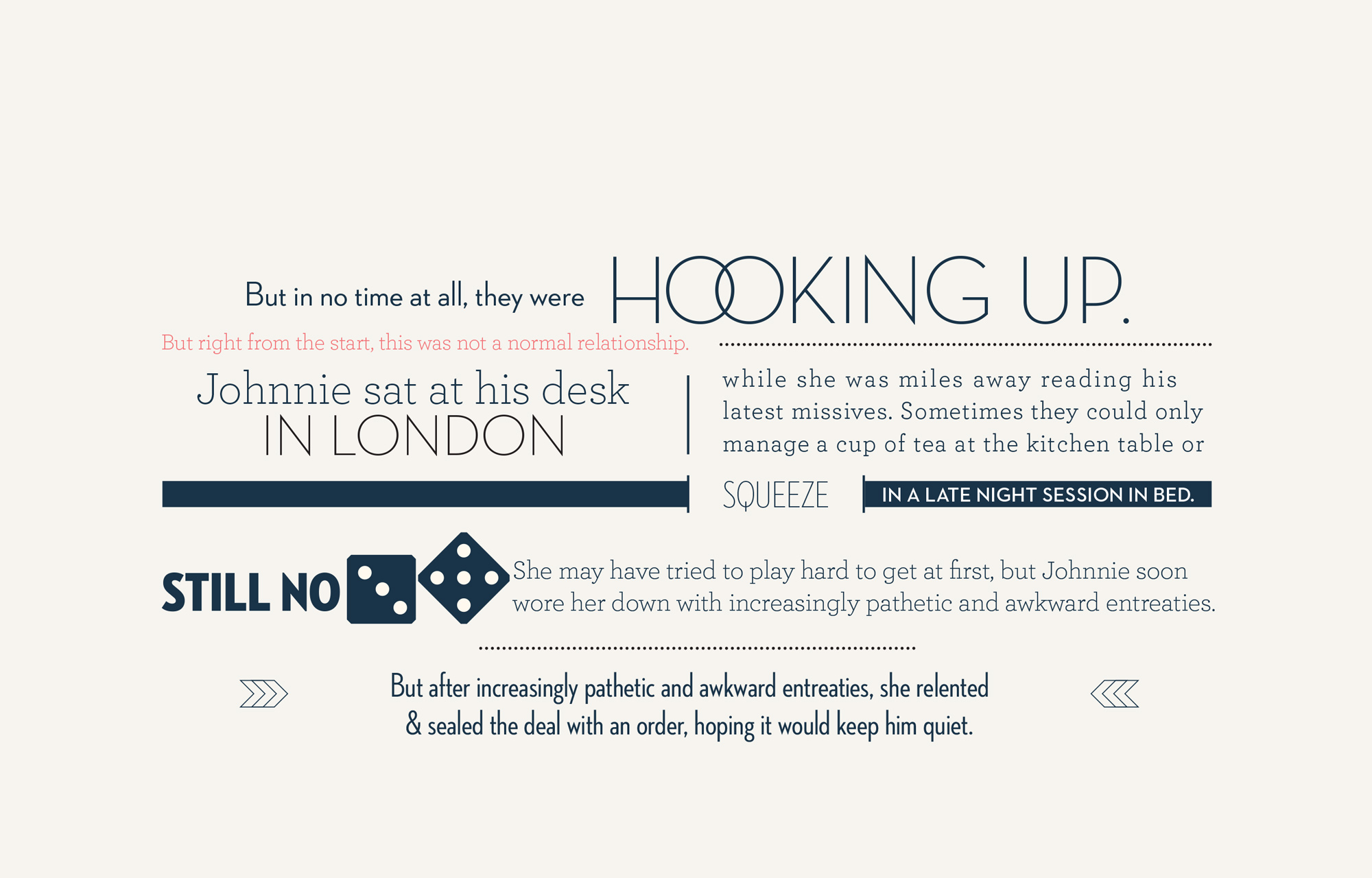 Typographic love story marketing personalised catalogue. Design by Brittany Hurdle