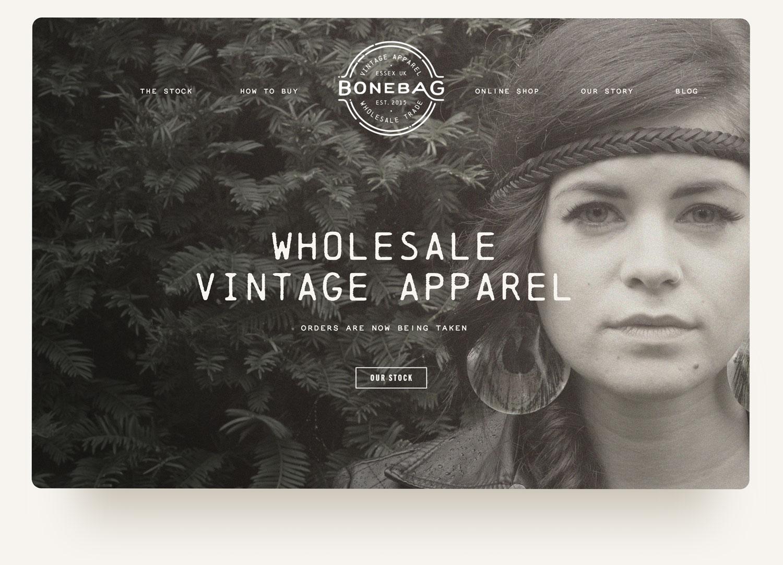 Bonebag Vintage wholesale vintage apparel model homepage on Squarespace ecommerce website design by Brittany Hurdle of Beckon webeckon . Photography by Matthew Hurdle