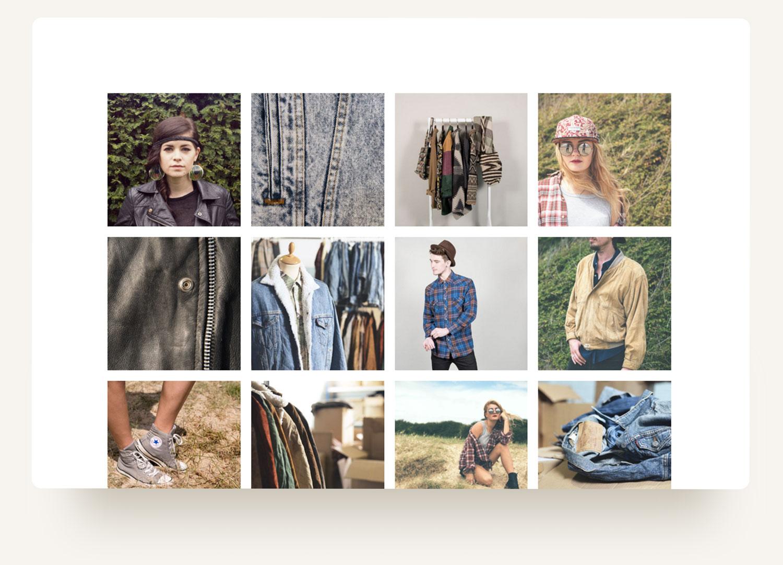 Vintage clothing apparel image grid for bonebag vintage-wholesale apparel. Squarespace ecommerce website design by Brittany Hurdle beckon webeckon
