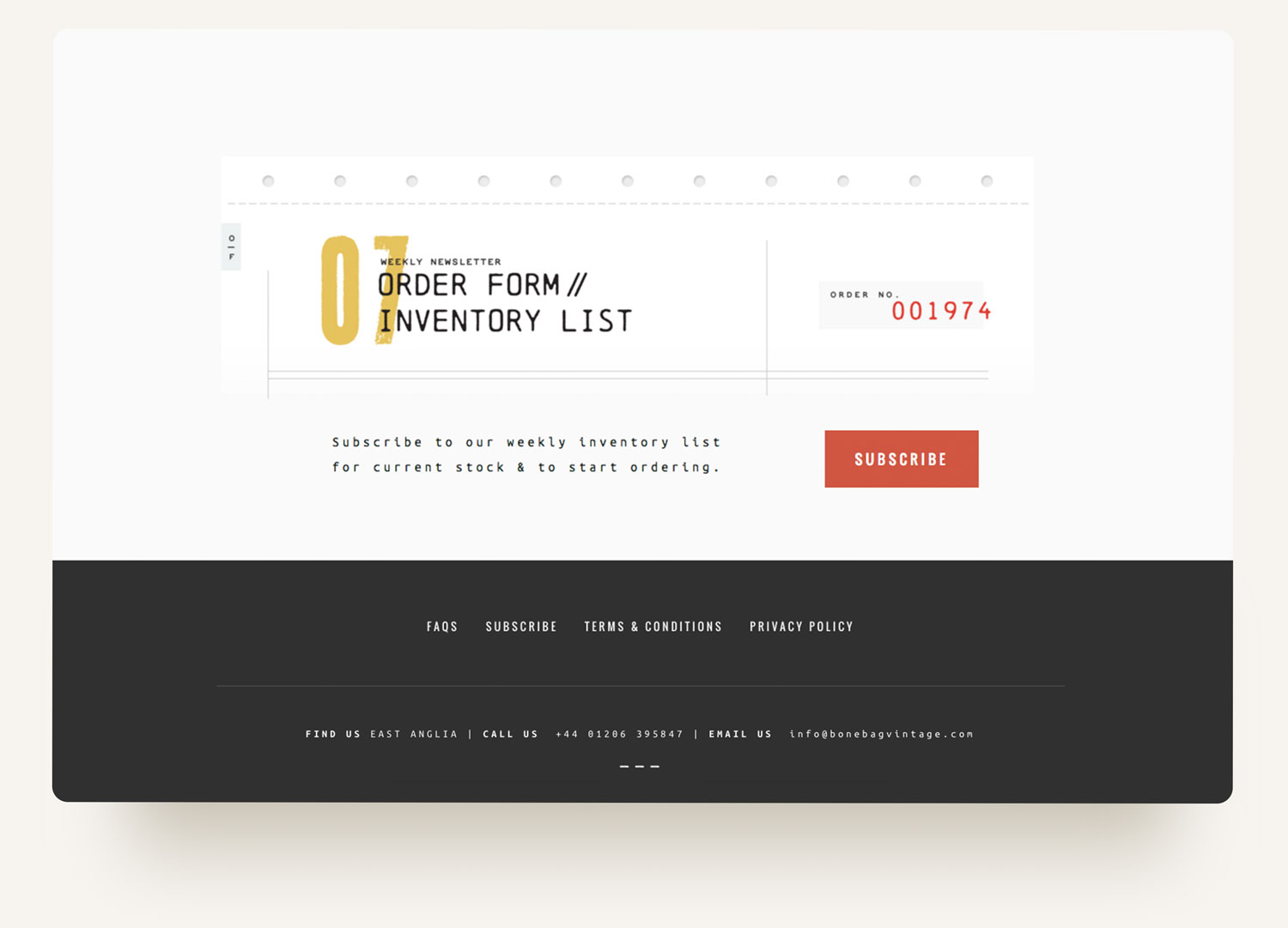Subscribe website design with graphic of dot matrix paper with lo fi printer font. Squarespace ecommerce website design by Brittany Hurdle beckon webeckon