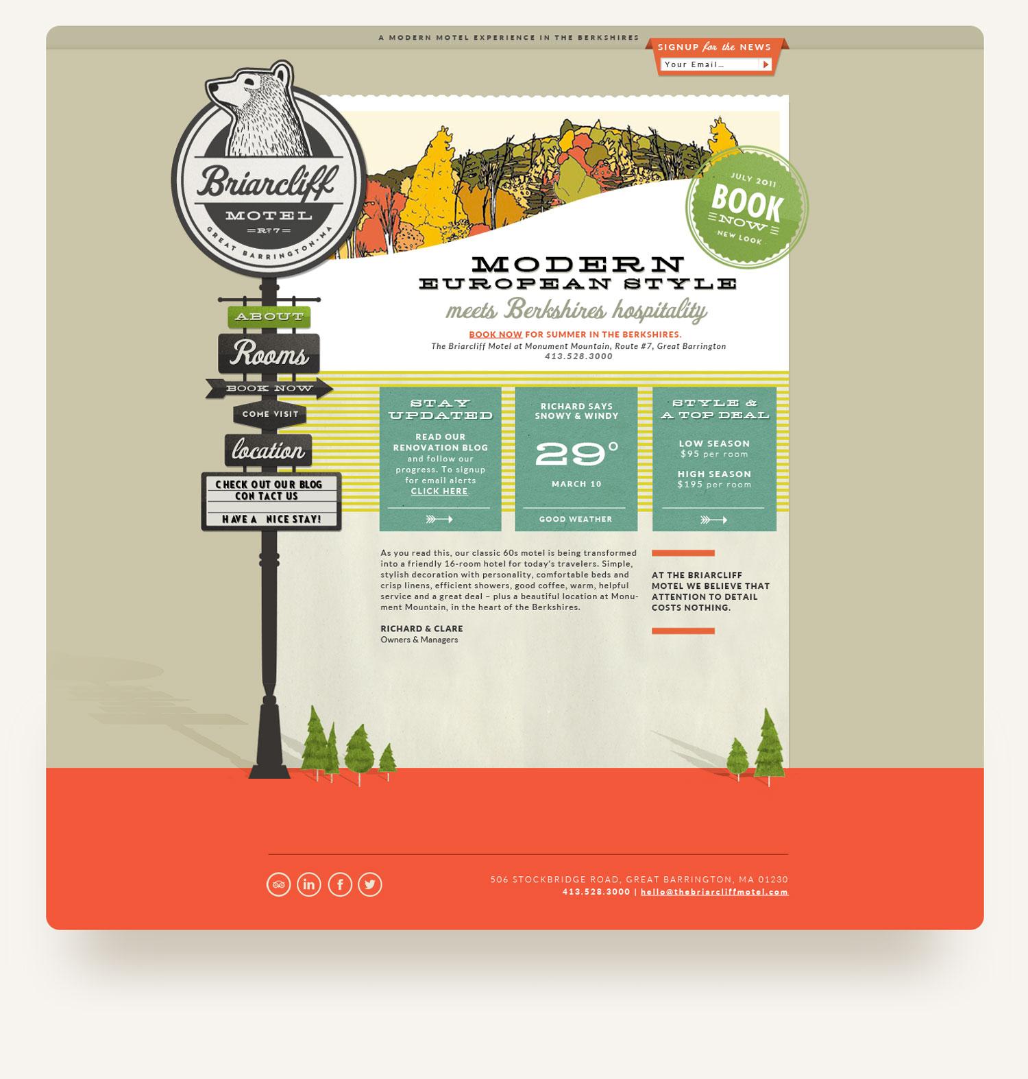 The Briarcliff Motel Berkshires website design. Bear logo, retro signage navigation. design by brittany hurdle beckon webeckon