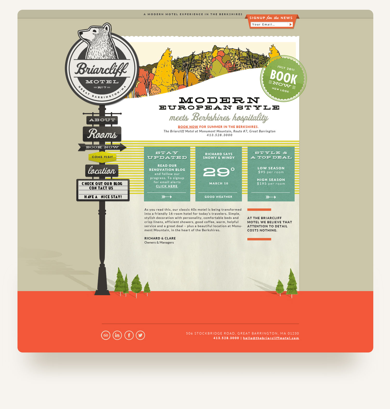 The Briarcliff Motel website design. Bear logo, retro signage navigation. design by brittany hurdle beckon webeckon
