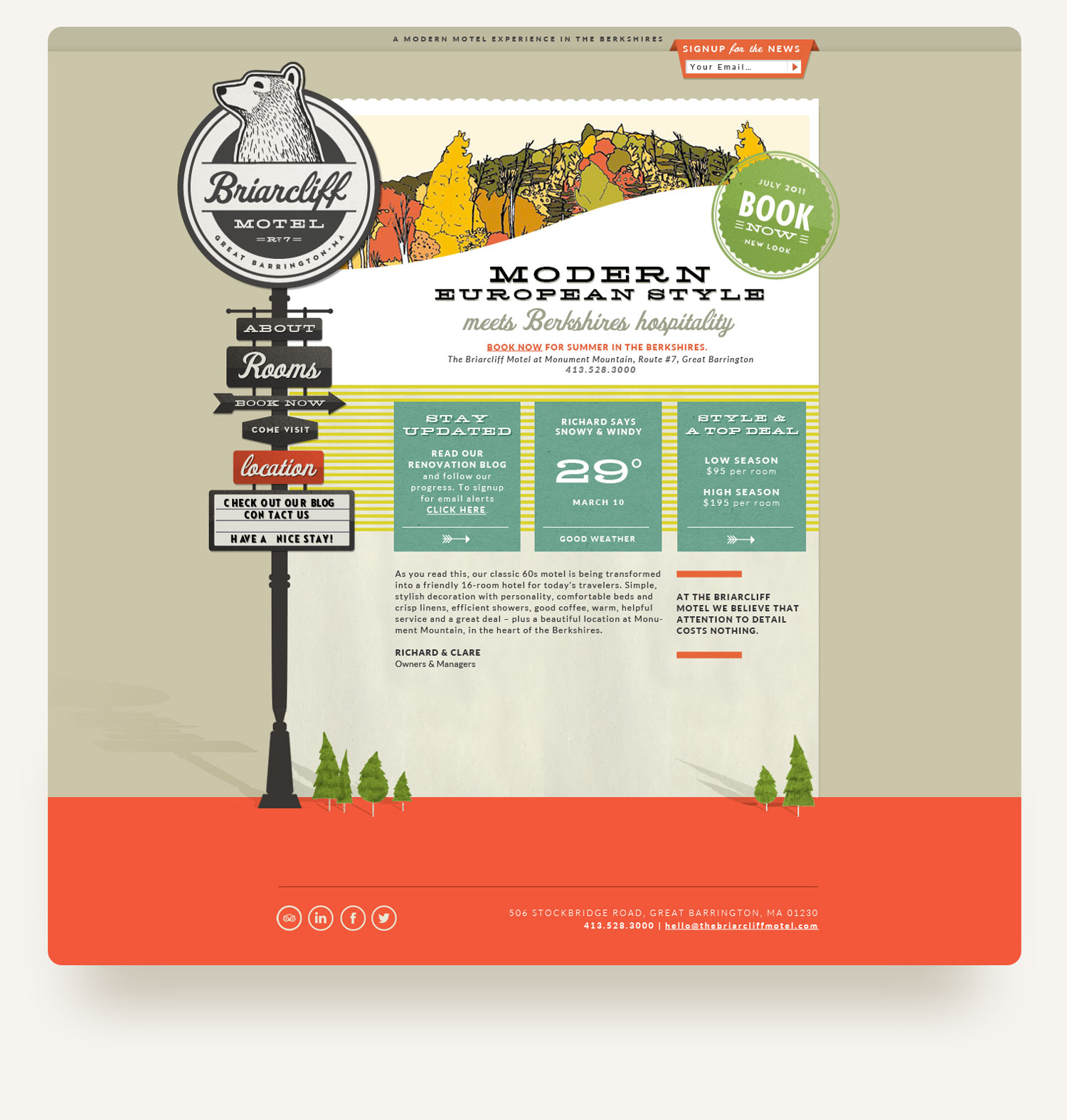 Quirky retro website with motel signage illustration navigation for the Briarcliff in the Berkshires. Web design by Brittany Hurdle beckon webeckon