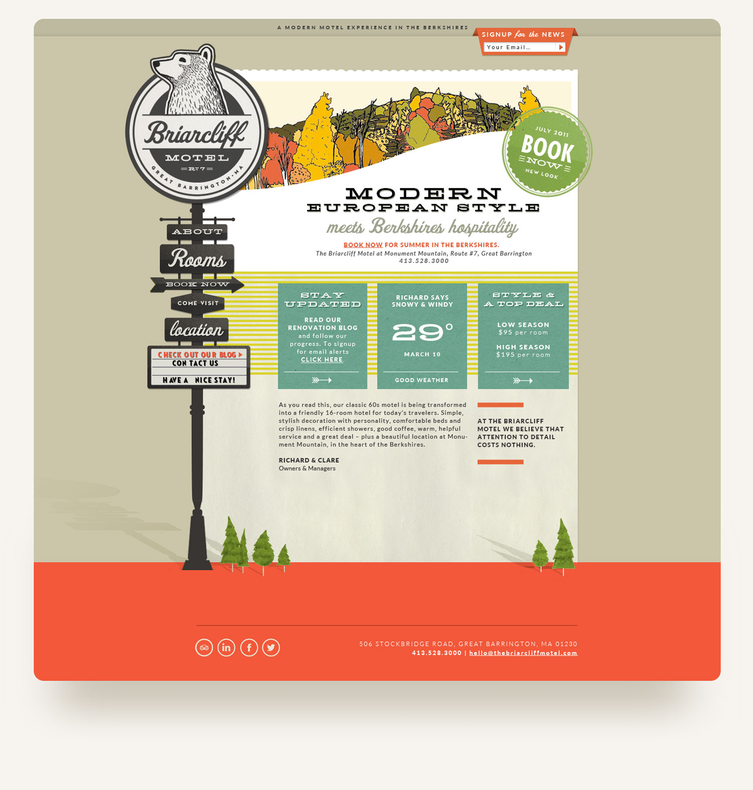 Quirky retro website with motel signage rollover illustration navigation for The Briarcliff Motel Berkshires. Web design by Brittany Hurdle beckon webeckon