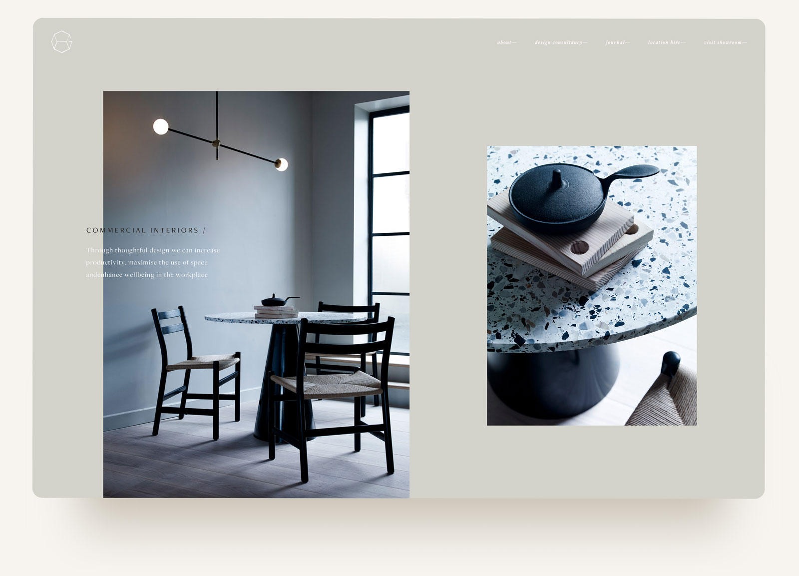 House of Grey commercial interiors studio editorial layout portfolio. Squarespace website design and custom code by Brittany Hurdle beckon webeckon