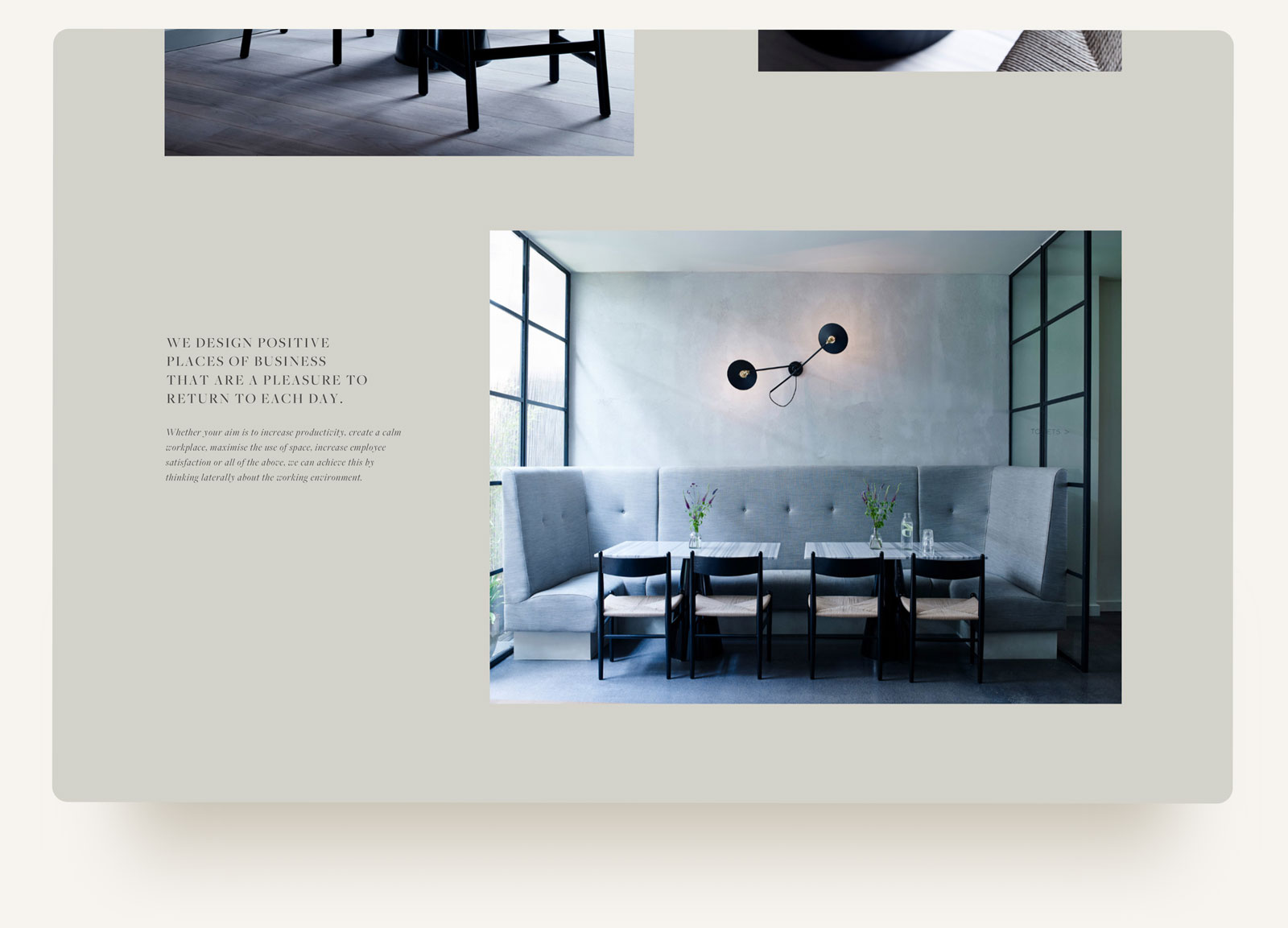 House of Grey interiors studio portfolio editorial layout with simple typography. Squarespace website design and custom build by Brittany Hurdle beckon webeckon