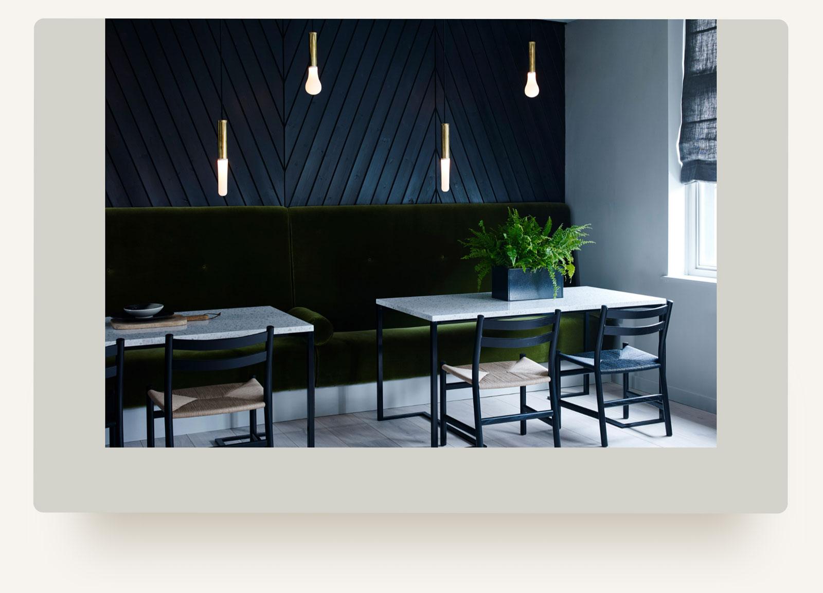 House of Grey interiors studio restaurant portfolio. Squarespace web design custom code by Brittany Hurdle by beckon webeckon