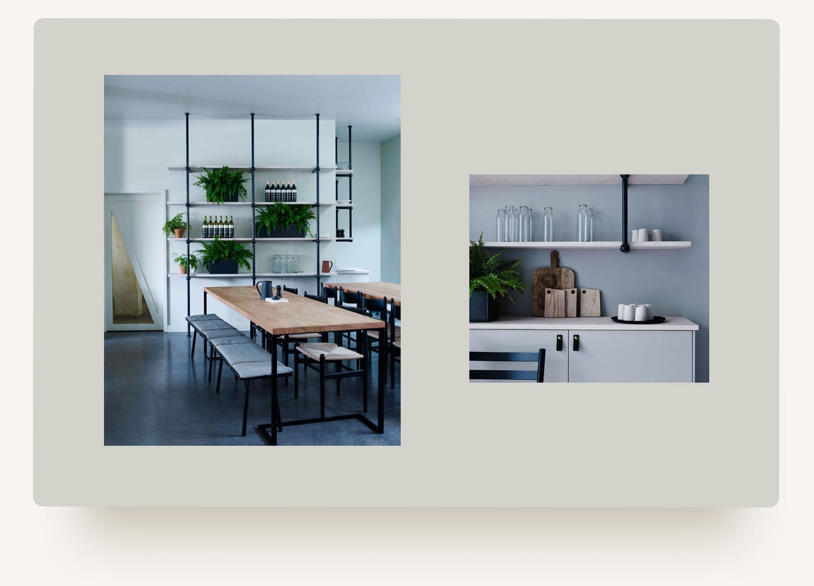 House of Grey interiors studio restaurant portfolio layout. Squarespace web design and custom build development by Brittany Hurdle beckon webeckon