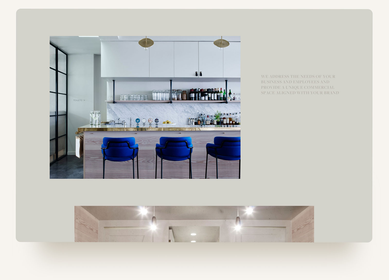 House of Grey interiors design studio with editorial grid and pull quote on neutral background. squarespace website design and build by Brittany Hurdle beckon webeckon