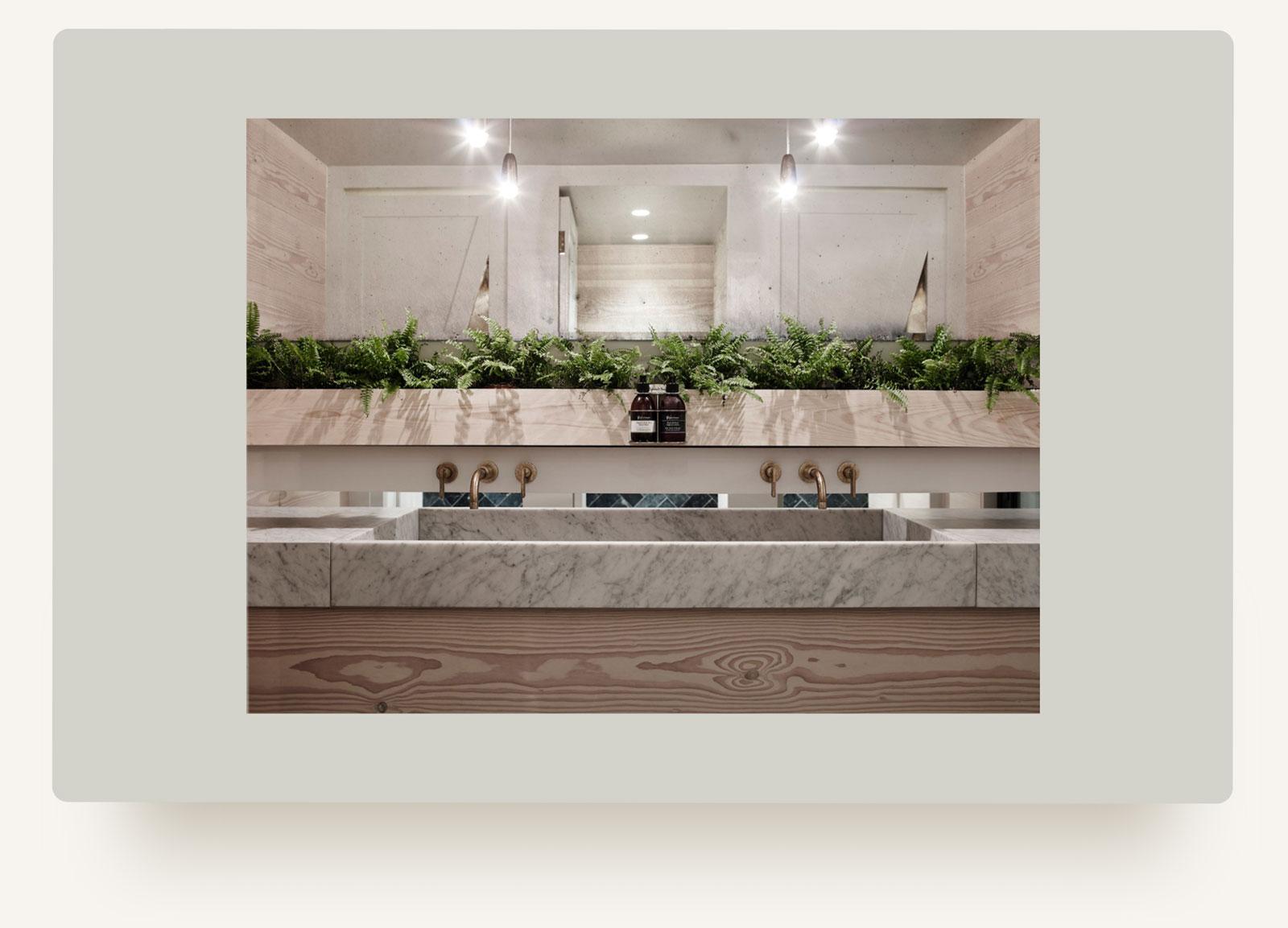 House of Grey interiors studio bathroom marble design in website design by Brittany Hurdle beckon webeckon