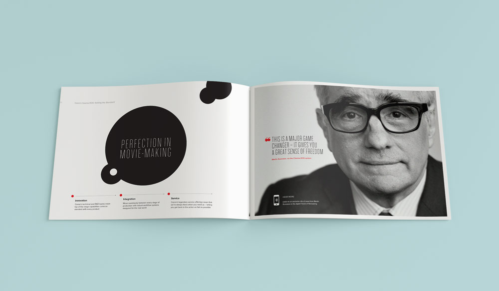 Canon brochure pitch black and white modern clean simple typographic design. Design by Brittany Hurdle for fmg
