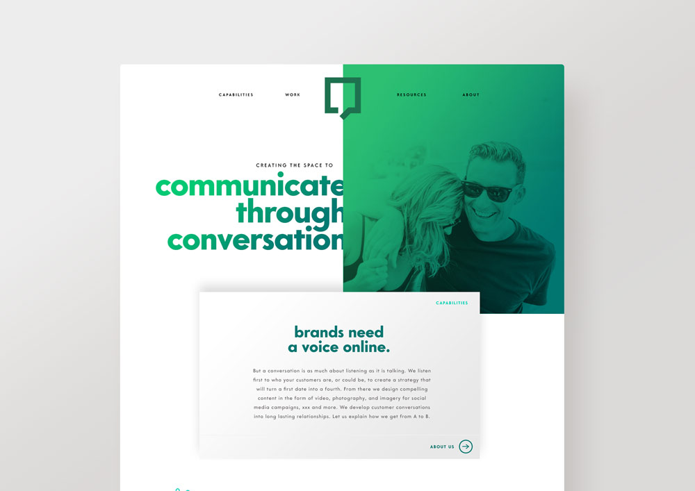 Graphic, colourful, fresh, modern agency website divi. Design by Brittany Hurdle