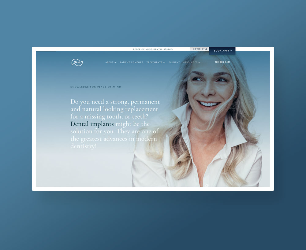 Modern dental branding website soothing minimalist typographic by Brittany Hurdle beckon webeckon